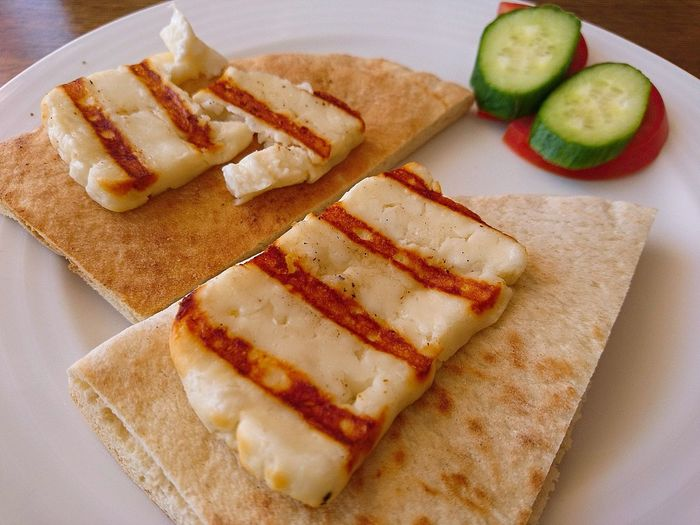 Its Halloumi on Pita Bread for Breakfast otra vez Ready2Eat Greek Food Food Photography Foodpictures Foodspotting