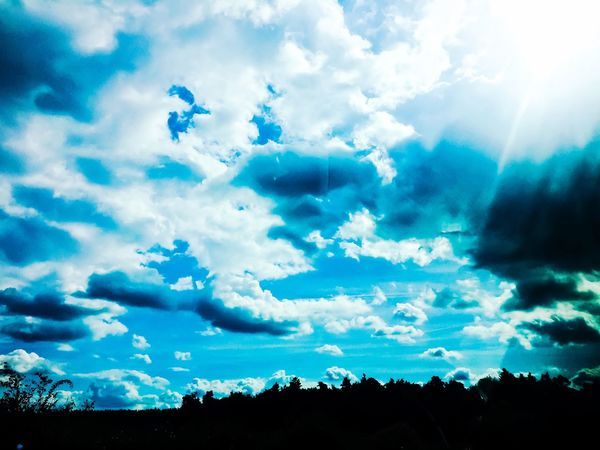 Great sky EyeEm Best Shots - Nature EyeEmBestPics EyeEm Nature Lover Cloud - Sky Sky Tree Plant Silhouette Nature Blue Turquoise Colored Sunlight Cloudscape Land Scenics - Nature Environment No People Outdoors Tranquility Beauty In Nature Low Angle View Tranquil Scene Day