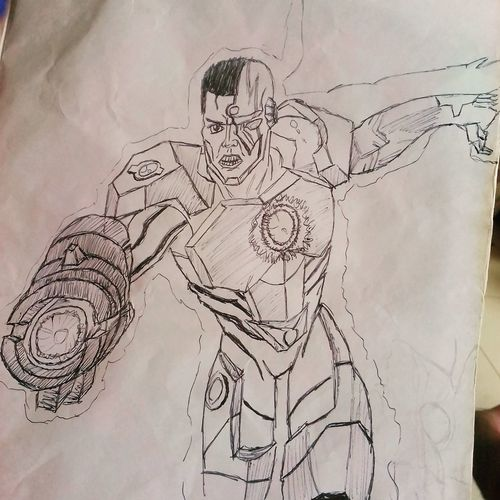 Cyborg Justiceleague Drawing - Art Product Doodle Pencil Drawing Sketch One Man Only Paper People Architecture Adult Only Men Day Close-up Dopeart