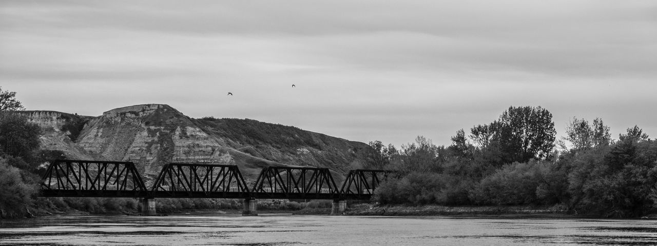 Alberta Architecture Art Beauty In Nature Black And White Bnw Bridge - Man Made Structure Built Structure Day Drumheller Landscape Mountain Nature Nature No People Outdoors Scenics Sky Sky And Clouds Tree Water