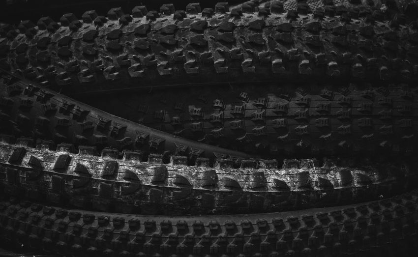eh Blackandwhite Knobs Knobby Tread Mountainbike MTB Bike Bicycle Tire In A Row Indoors  No People Pattern Close-up