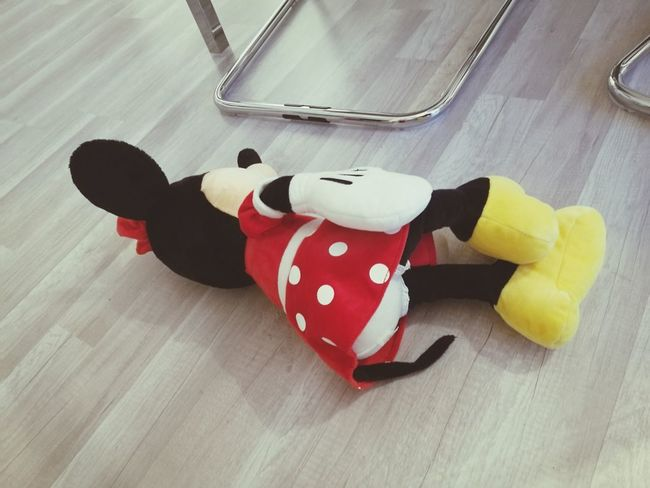 Minnie Mouse Minnie Abandoned Loneliness Lonely Toddlerlife Toddleryears Parenthood Parenting Urban Lifestyle Red High Angle View Polka Dot Toy Animal Teddy Bear Doll Animal Representation Toy Stuffed Toy