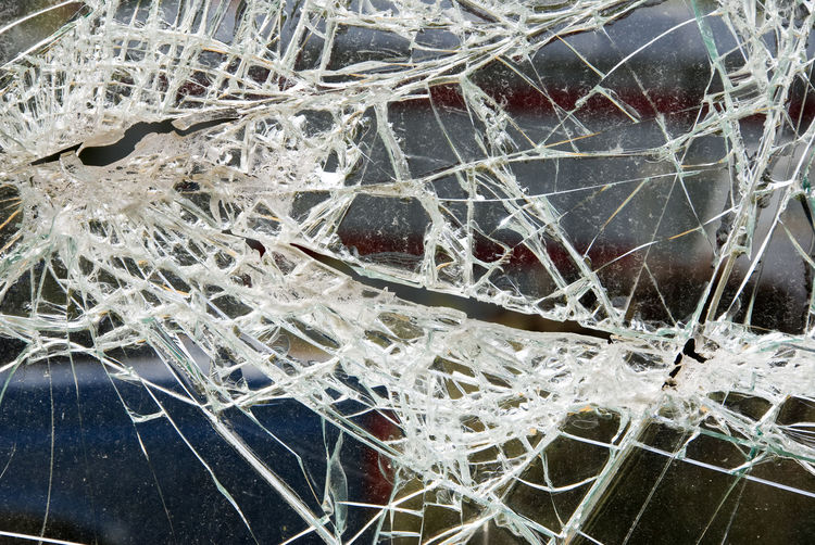 Close-up of damaged window