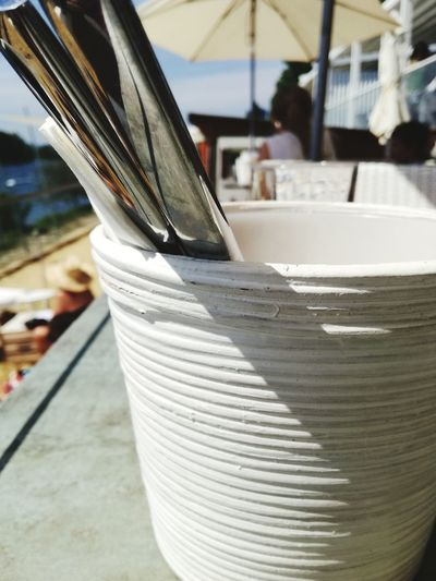Flower Pot Flower Potts Special Arrangement Ready To Eat Cutlery Silverware  White Color White Ceramic Ceramic Art Craft Ceramic Pot On The Beach Close-up