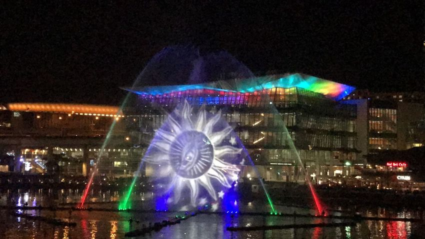 Vivid Festival Sydney, 2017 Architecture Arts Culture And Entertainment Australia Australia & Travel Beautiful Building Exterior City Colors Darling Harbour Eye Lights Martinhornak Multi Colored Night No People Outdoors Performance Sky Sydney Vivid Vivid Colours  VIVID Sydney Water Water And Light Water Show