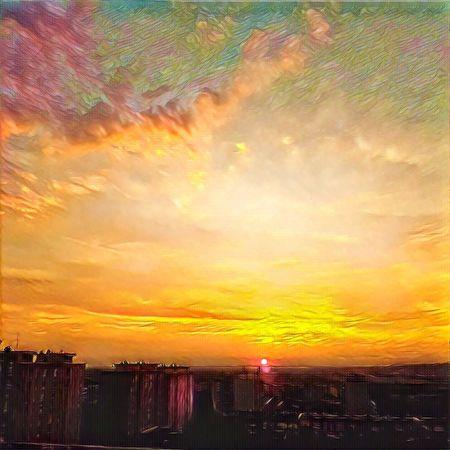 Sunset Orange Color Beauty In Nature Architecture Prisma Colorful No People Romantic Sky