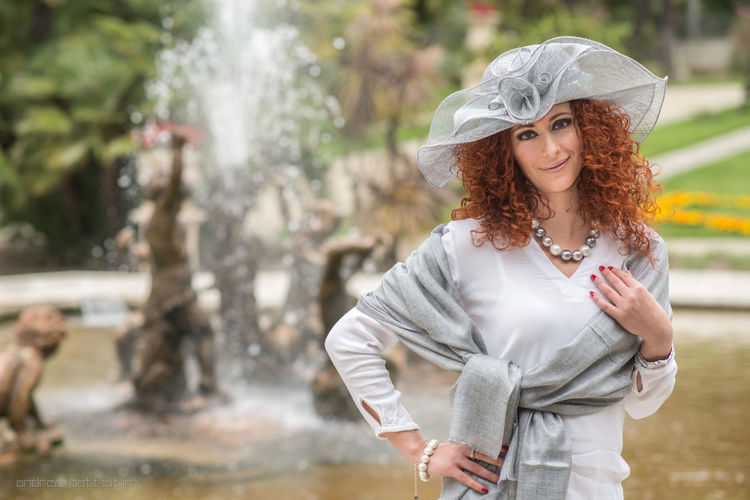 Fountain Green Hat Instagood Instalove Marriage  Mode Model Photography Portrait Portrait Of A Woman Red Red Hair Scarf Spring Style