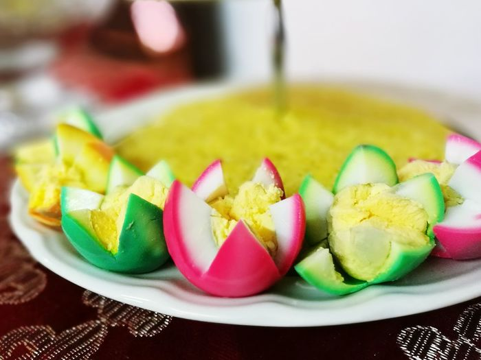 Exploring Style colourful boiled egg for the celebration Traditional Malaysian Culture Village Food Pahang Darul Makmur