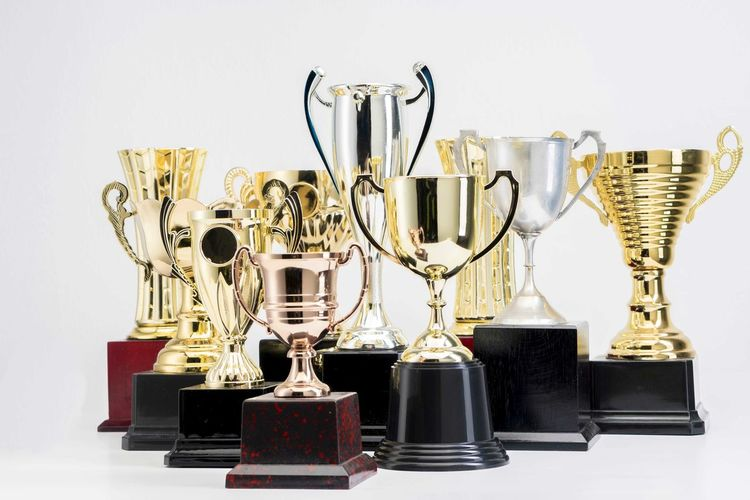 Variety of Trophy Cup on white background AWARD Trophy Winning Achievement Success Studio Shot Variation Still Life Gold Colored Choice Indoors  No People Medal Large Group Of Objects Metal Competition Shiny Sport Gold Collection Silver Colored