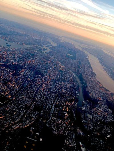 Dusk Sunset Manhattan Aerial View Scenics - Nature Nature Sky City Cityscape Cloud - Sky Flying Airplane Tranquility Beauty In Nature