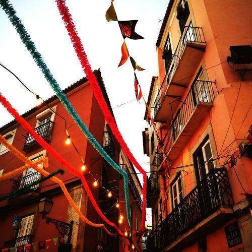 Lisboa Portugal Tradition Santos Populares Hanging Red Sky Paper Lantern