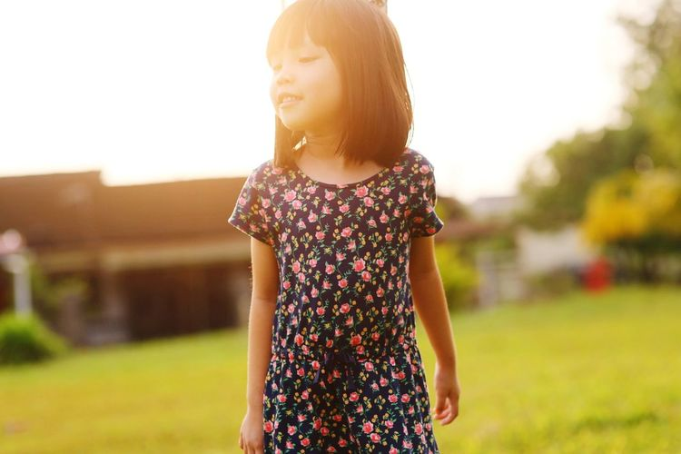 Portrait on Asian little girl Portrait Asian  Girl Cute Streaming Head And Shoulders Sunbeam Growing Sundress Petal Blooming Shining Lens Flare Sunset In Bloom Stem Silhouette Pollen Posing Sunrise Sun Flower Head Sleeveless Dress