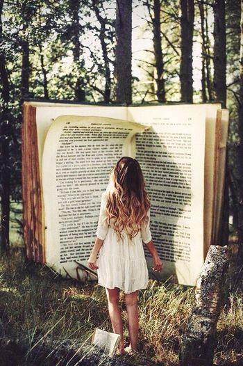 Reading A Book Relaxing Time Wood Beautiful Nature Beatiful Girl