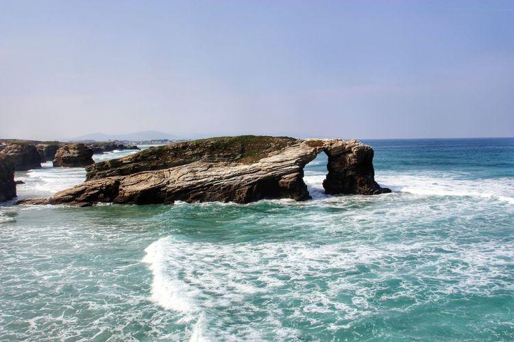 Playa de las Catedrales Galicia Lugo Playa De Las Catedrales SPAIN Sea Beach Water Wave Horizon Over Water Rock - Object No People