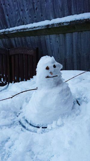 Snowman Tiny Mountain Representing Polar Climate Beauty Landscape Powder Snow