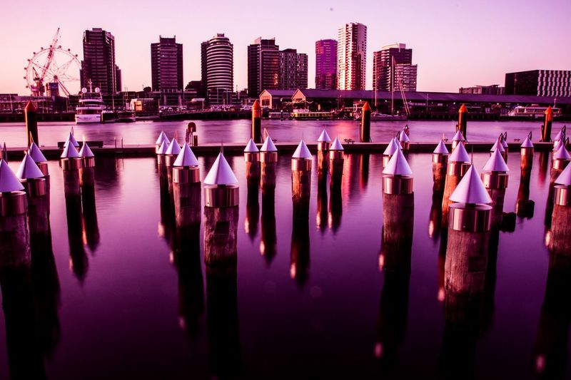 Millennial Pink EyeEmNewHere Pink Color Melbourne Docklands Reflection_collection Cityscapes ❤Australia❤ Landscape Lights And Shadows EpicShotPhotography Reflections In The Water Epic!!! ClourPorn Sunset_collection Boats⛵️