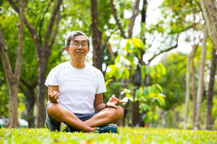 Old man Meditation in nature park Exercising One Person Sitting Yoga Plant Healthy Lifestyle Adult Senior Adult Leisure Activity Relaxation Exercise Wellbeing Lifestyles Tree Relaxation Meditating Sport Day Nature Smiling Cross-legged Outdoors