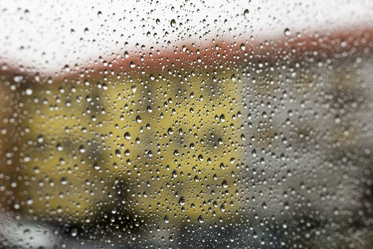 drop, rain, wet, indoors, no people, close-up, water, weather, backgrounds, full frame, raindrop, yellow, day, freshness