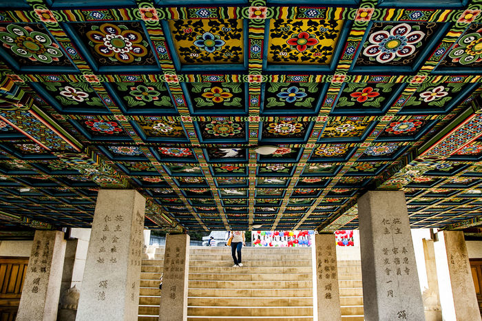Backgrounds Bongeunsa Buddhism Buddhist Temple Culture Design Famous Place Floor Flooring Full Frame Historic Indoors  Ornate Pattern Religion Repetition Shadow Shape Textured  Tile Tiled Floor Wall Wall - Building Feature