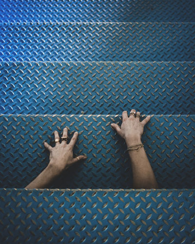 Human Hand Human Body Part Personal Perspective Hands Stairs Stairway Blue Moody Dark Jewels Rings Woman Hands Escaping Conceptual Conceptual Photography  Fine Art Photography No Face Fingers Industrial Stairs