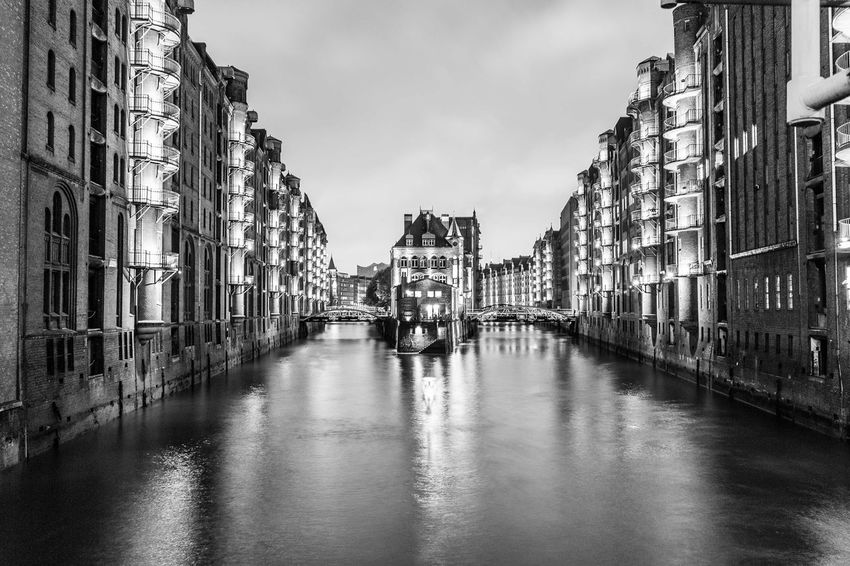 Evergreen. Monochrome Black And White Blackandwhite Architecture Building Exterior Built Structure Canal Waterfront Sky Water Day Transportation Outdoors No People City