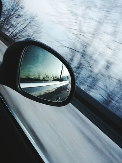 Going places Transportation Car Reflection Travel Close-up Day No People Nature Outdoors Vehicle Mirror Snow Winter Trees