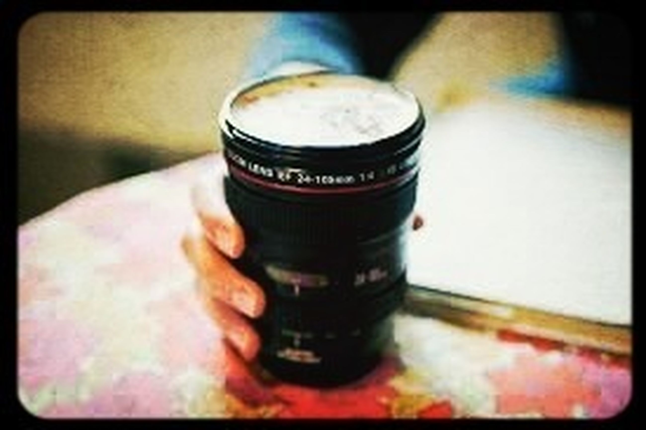 transfer print, indoors, auto post production filter, close-up, food and drink, focus on foreground, selective focus, still life, holding, drink, freshness, table, part of, refreshment, person, coffee cup, sweet food