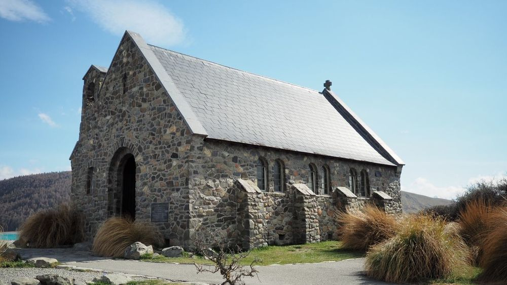 Church of the good shepherd Lake Tekapo New Zealand Church New Zealand Scenery Old Architecture Building Exterior Building Low Angle View Place Of Worship History No People Day Built Structure