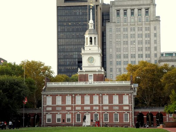 Independence Hall. I'll be heading to Philadelphia in a week. I hope to get some good photos if there's time from work. Architecture Bell Tower Building Exterior Built Structure City City Day Historic Historical Building History History Through The Lens  Independence Day Independence Hall Liberty No People Outdoors Philadelphia Place Of Worship Sculpture Sky Statue This Week On Eyeem Travel Tree USA