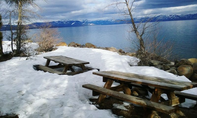 Picnic Outdoors California Love Snow Laketahoe Mountains And Sky Nature Photography Outdoor Photography Sky And Clouds Trees California Sky_collection Mountain_collection Snowy Winter SnowPeaks Lake Cold Temperature Nature Water Weather No People Table Tree Tranquil Scene Beauty In Nature Mountain Sky White Color Day