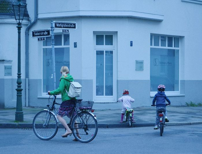 #family #kids #film #cinematic #Blue #Düsseldorf #germany Building Exterior Built Structure Sky Cycling
