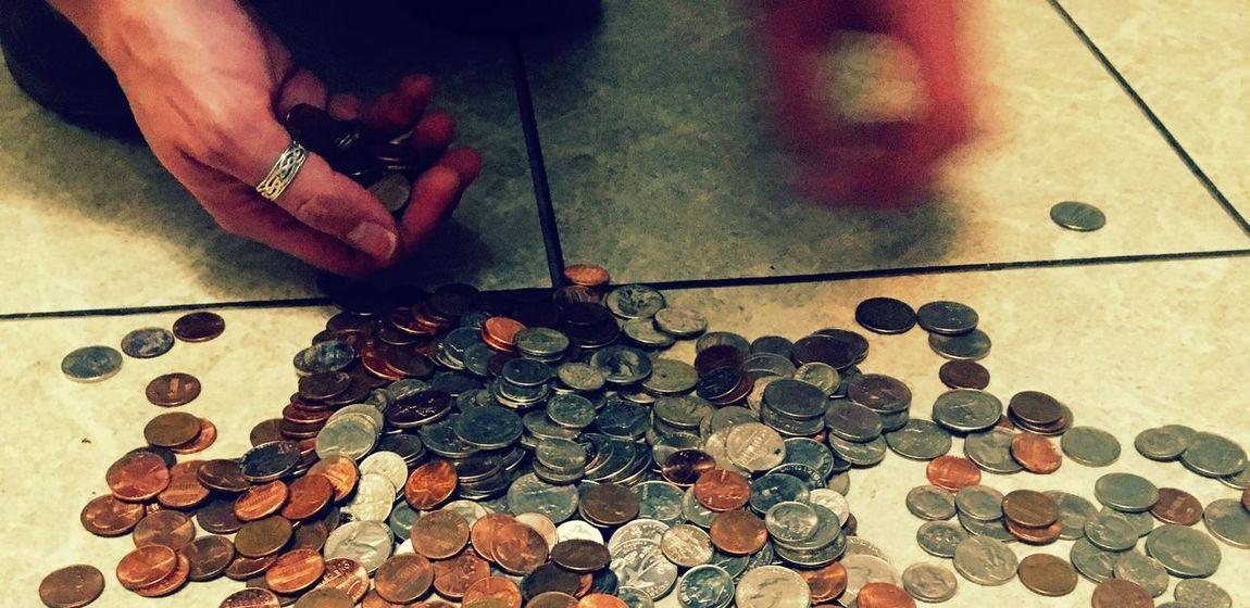 Human Body Part One Person Human Hand Indoors  Real People High Angle View Coin Large Group Of Objects Men Holding Lifestyles One Man Only Close-up Day Adult People Adults Only Counting Money Counting Loose Change