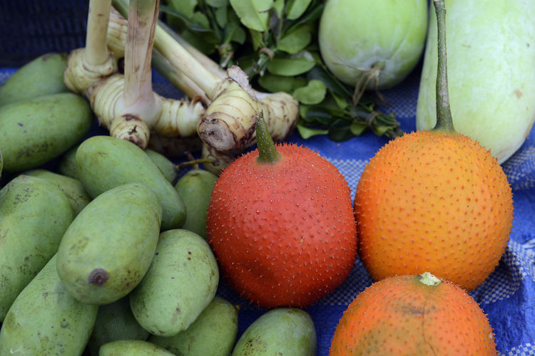 Close-up of raw fruits