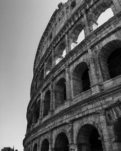 Architecture Built Structure History Arch Building Exterior Outdoors Ancient Civilization Travel Destinations Travel Rome Italy Colosseum Summer Views No People Oldworld TravelGuides Black And White First Eyeem Photo