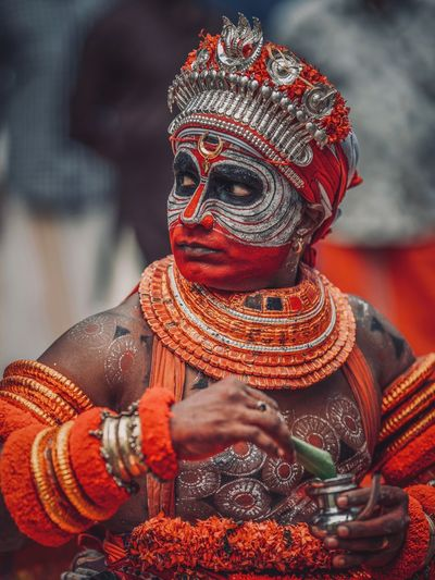 Theyyam of Kannur - North Kerala / India Theyyam Theyyams Of Kannur Kerala The Gods Own Country ;) Keralatourism Indiapictures Portrait Portrait Photography Portraits Portrait Of A Man  Incredibleindia Incredible India Kannur Kerala India Kerala Travel Travel Destinations Travelling Photography Travel Photography India Art And Craft Sculpture Human Representation Spirituality Statue Religion Representation Belief Craft Creativity Real People