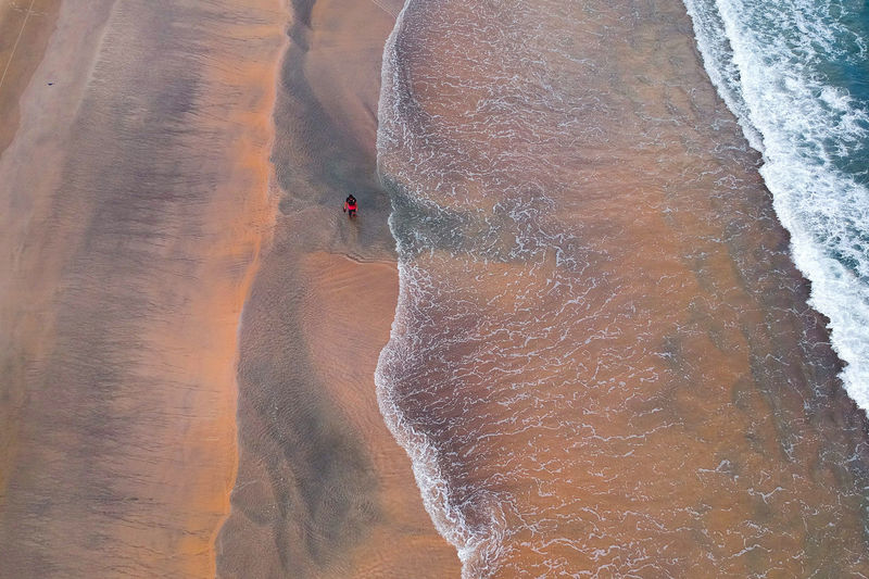 the beautiful texture beach view Excitement Trip Beach Holiday Vacations Day Lifestyles Nature Scenics - Nature Aquatic Sport People Surfing Sea Land Motion Sport High Angle View Beauty In Nature Water