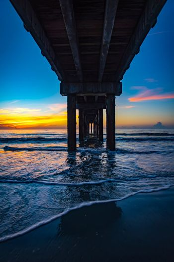 EyeEm Selects Water Sky Sunset Built Structure Architecture Sea Bridge Bridge - Man Made Structure Connection Nature Architectural Column Horizon Horizon Over Water Beauty In Nature Scenics - Nature Cloud - Sky Beach Underneath
