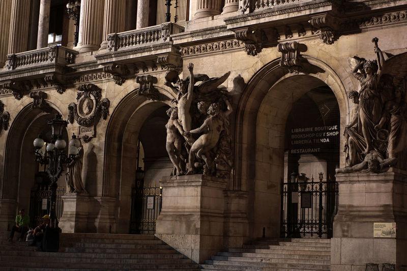 Night Photography Night Scene Palais Garnier Paris Paris By Night Architecture Built Structure Creativity History No People Opera House Sculpture