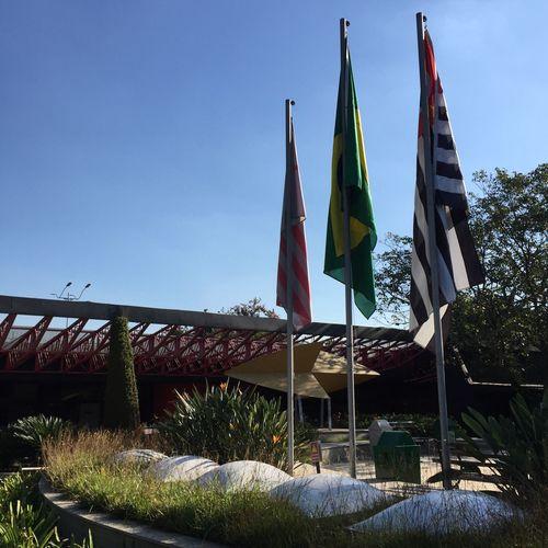 Brazilian Flag At Park Against Clear Sky