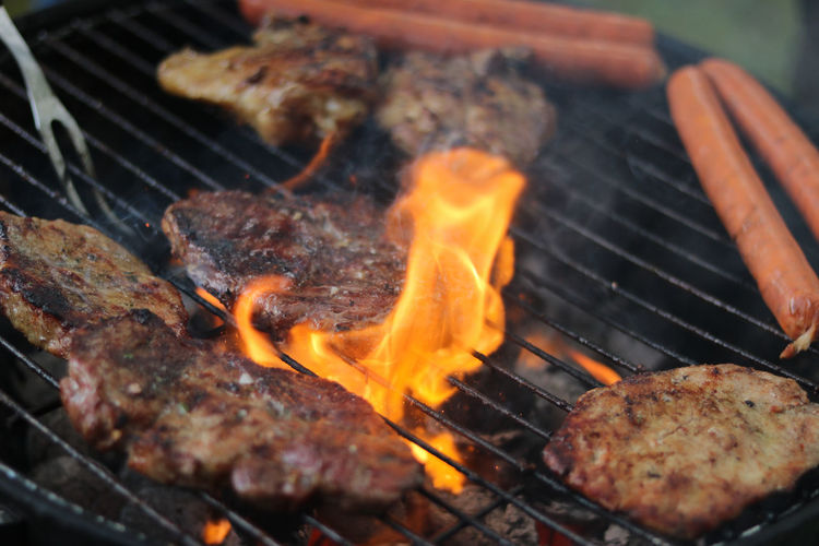 Barbecue Grill Flame Burning Food Meat Heat - Temperature