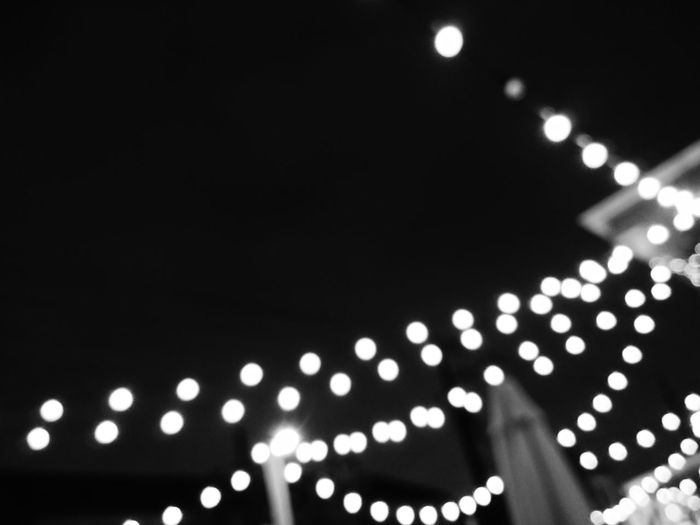 Summer Nights Summer Wine Friends Outdoor Decor Restaurant Decor Lights Bw_collection Bnw_collection Bnw Bw Night Lights Outdoors Low Angle View Illuminated Night Nightphotography Black And White Depth Of Field Blur Black And White Friday