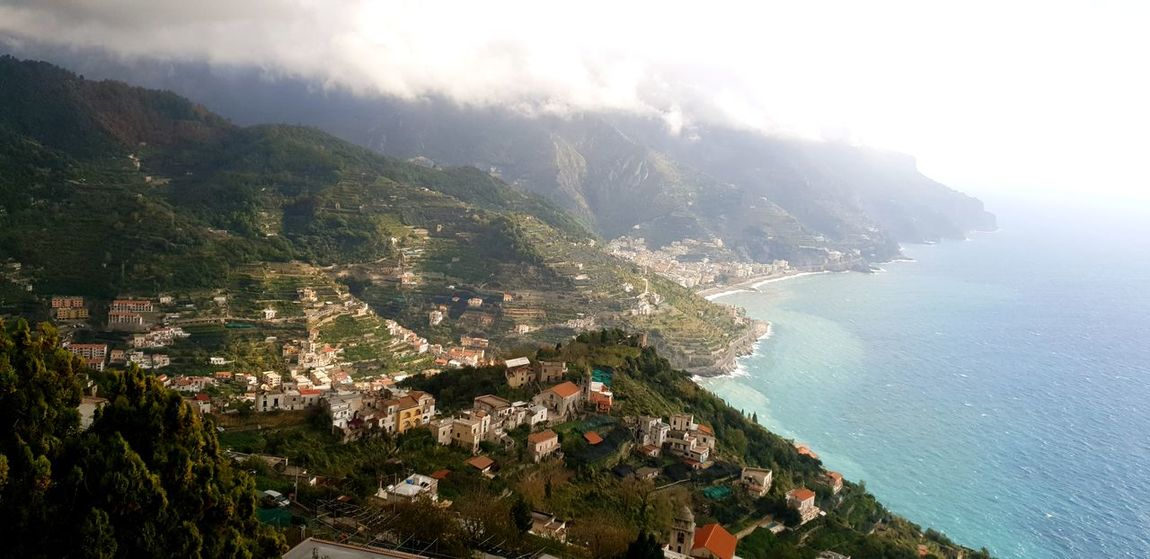 Amalfi coast Amalfi Coast Water Tree Sea Mountain Aerial View Fog High Angle View Cityscape Sky Landscape Pine Woodland Evergreen Tree Residential Structure Seascape Coastline Rocky Coastline Ocean