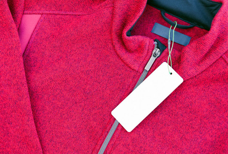 Clothing Jacket Red Textile Close-up Fashion No People Tag Clothes Label Clothing Labels Price Tag Mockup Shopping Blank Copy Space Mock Up Label Clothes Apparel Business