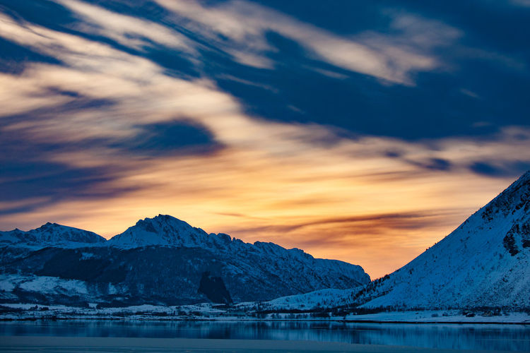 Winter in Norway Beauty In Nature Cloud - Sky EyeEm Best Shots EyeEm Masterclass EyeEm Nature Lover Landscape Lofoten Mountain Mountain Range No People Norway Outdoors Romantic Sky Sunset Winter Miles Away
