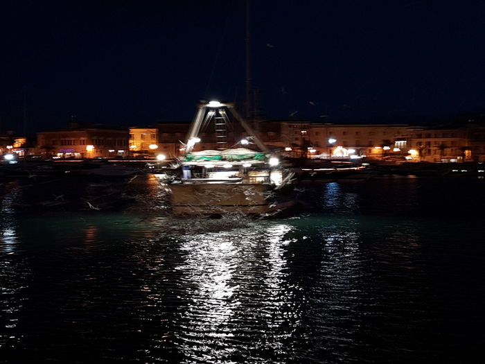 Trani Tranibynight S7flat Italian_places Italy Yellaspuglia Apuglia Visititalia Night Illuminated Reflection Water No People Nautical Vessel Harbor