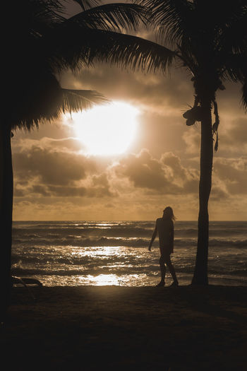 Beach Beauty In Nature Cloud - Sky Day Full Length Horizon Over Water Leisure Activity Lifestyles Men Nature Ocean One Person Outdoors People Real People Scenics Silhouette Sky Standing Sun Sunset Tranquil Scene Tranquility Tree Water