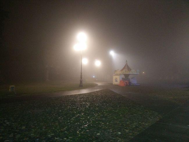 giostra nella nebbia Giostra Giostra Di Natale Carusel At Night Carusell Carusel Night Illuminated No People Outdoors Building Exterior Prison Shades Of Winter