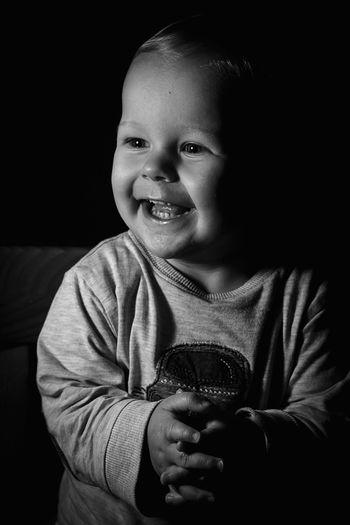 Front View Black Background Toddler  Portrait