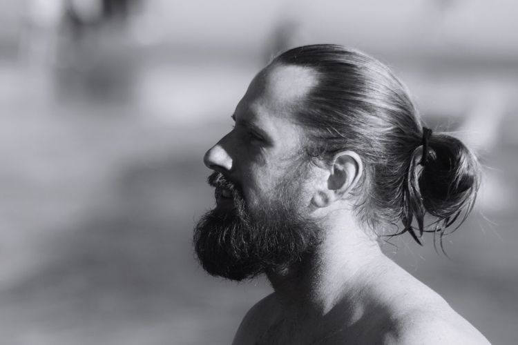 One Person Focus On Foreground Beard Shirtless Close-up Brooklyn Ny Coney Island / Brooklyn NY Black And White Photography Black And White Man Manbun