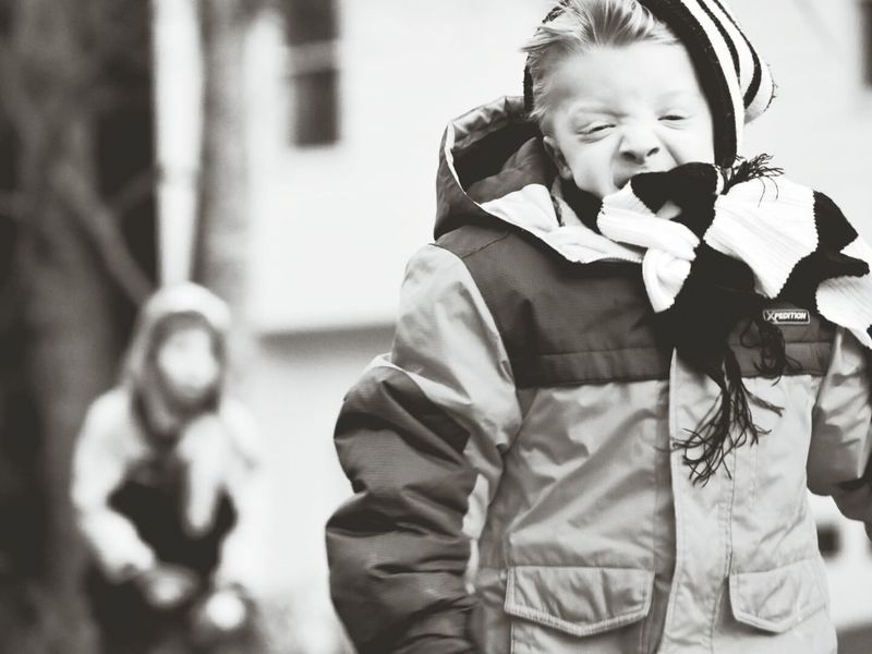 Adapted To The City Windy Day Scarf Outdoors Photograpghy  Child's Play Cold Temperature Cold Days Blackandwhite Photography